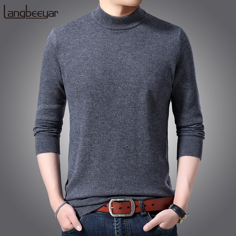 6% Wool Fashion Brand Thick Half Turtleneck Sweaters Men Pullovers Slim Fit Jumpers Knitwear Autumn Casual Clothing Male
