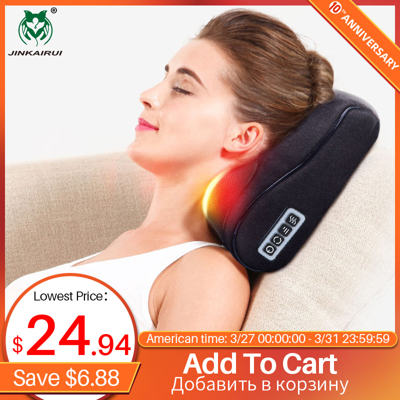 Black Shiatsu Massager Infrared Heat Neck Shoulder Back Body Multifunctional Massage Pillow Device Cervical Healthy Massageador