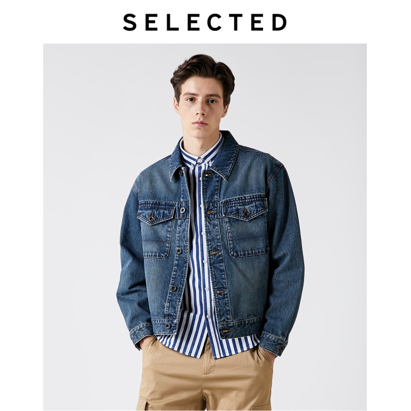 SELECTED Men's Cotton Coat Washed Lapel Denim Jacket Functional Outwear Clothes S   419357504