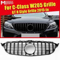 Dla Mercedes C klasa W205 C205 Sport Coupe C63 przedni grill grillts wygląd ABS czarny błyszczący dodaj styl bez aparatu 2015-2018