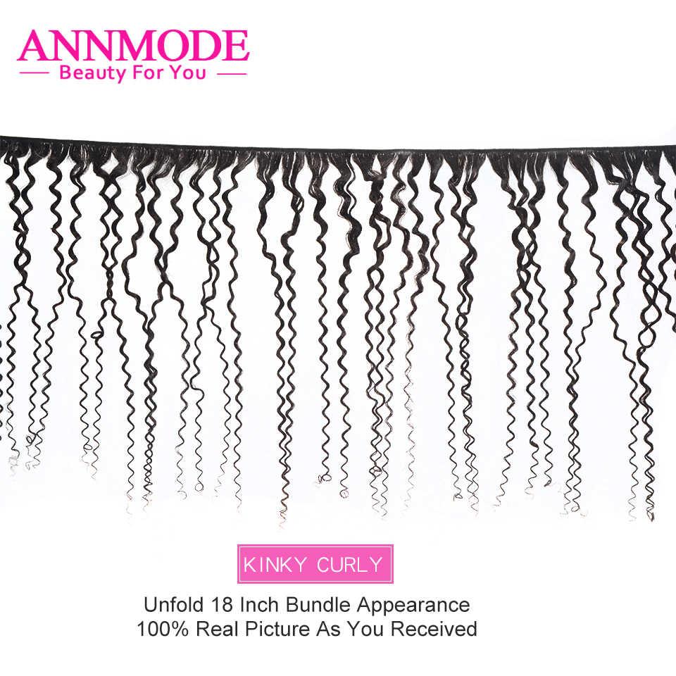 Brezilyalı Kinky kıvırcık kapatma ile 3 demetleri 8-28 uzun saç postişi örgü 4x4 orta üç ücretsiz bölüm saç kapatma olmayan Remy Annmode