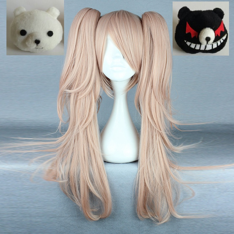 Anime Dangan Ronpa Enoshima Junko Wig Cosplay Costume Danganronpa Women Hair Halloween Women Wigs + White Black Bear Hairpins