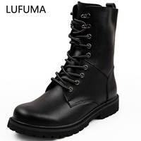 LUFUMA bottes militaires hommes chaussures d'hiver hommes chauds bottes en cuir chaussures Cowboy bottes tactiques hommes chaussures décontractées taille 38-48