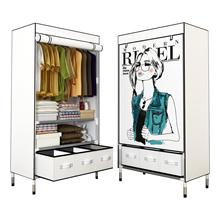 Portable Clothes Closet Rolling Door Wardrobe Sturdy Rust-Proof Stainless Steel Frame Fabric Cover Storage Organizer with Drawer