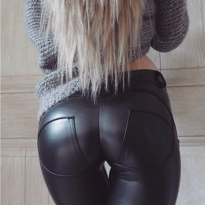 Pu Leather Pants For Women Push Up Black High Waist Sexy Elastic Trousers Fleece Thick Winter Warm Femme Casual Skinny Pencil
