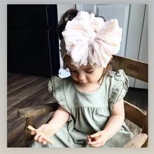 Детский бант для волос для девочек, повязка на голову, Эластичный Тюрбан, нейлоновая повязка на голову, аксессуары