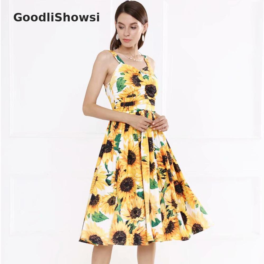 GoodliShowsi pastorale vacances robes tournesols imprimer Spaghetti sangle Slash cou sans manches Sexy dos nu femmes robes de Slip