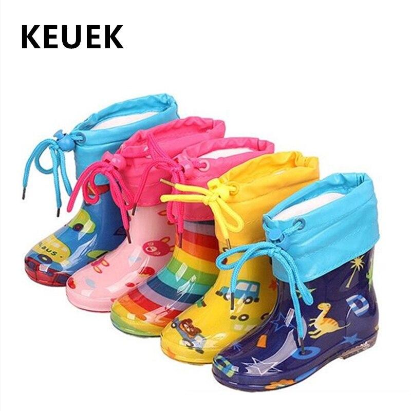 New Children Rain Shoes PVC Mid-Calf Baby Rainboots Kids Rubber Shoes Boys Girls Waterproof Anti-Slippery Spring/Autumn 020