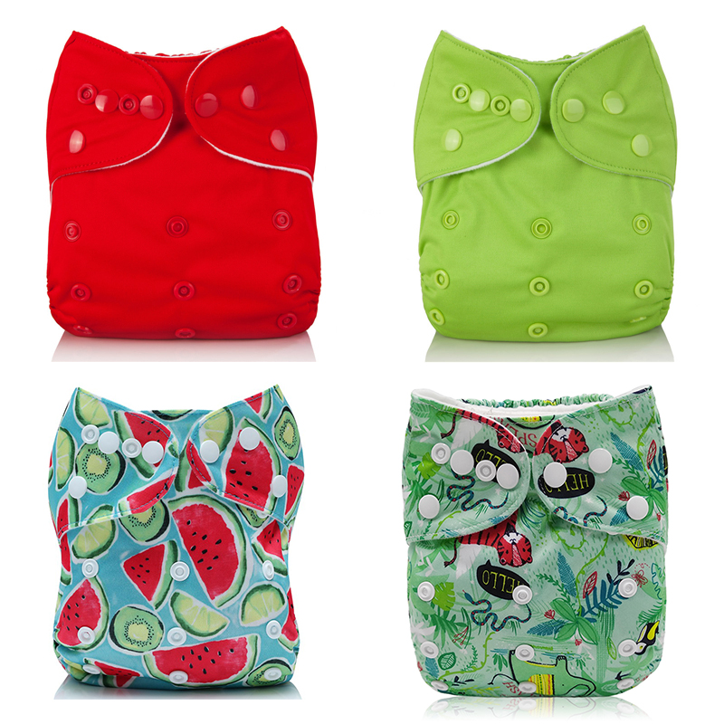 4Pcs Cloth Baby Girl Boy Diapers With Microfiber Inserts Washable Reusable Red Green Waterproof Diapers Suit 3-15kg