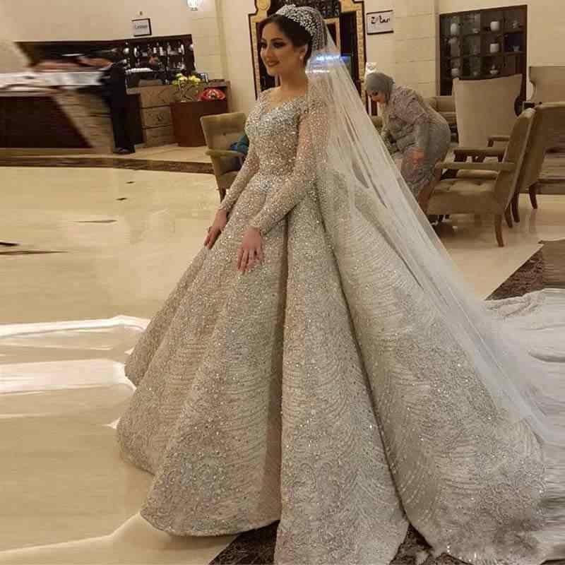 חלוק דה Mariee 2020 יוקרה מלא ואגלי שמלות כלה 2020 אשליה ארוך שרוול גב פתוח חתונת שמלות Vestido דה Novia