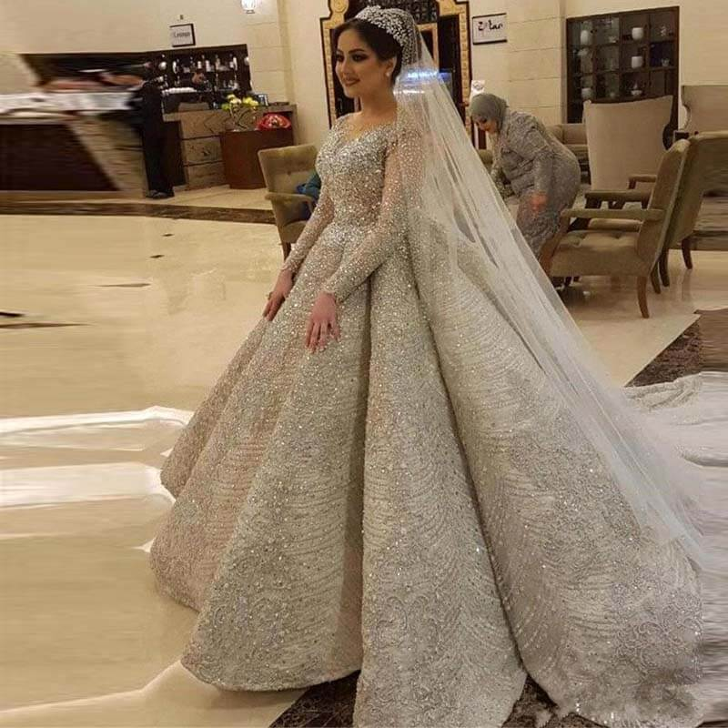 Robe De Mariee 2020 Luxury Full Beading Wedding Dress 2020 Illusion Long Sleeve Open Back Wedding Gowns Vestido De Novia