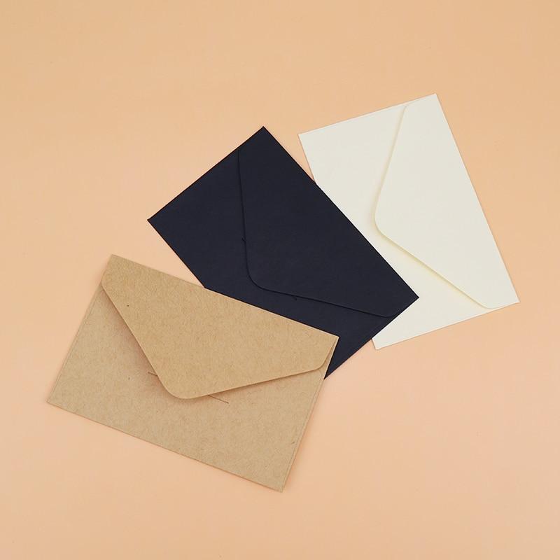 20/40/80 штук классическая белая черная крафт-бумага пустые Мини бумажные конверты с окошком для свадебных приглашений конверт Подарочный кон...