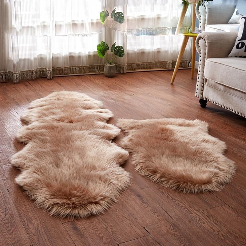 Sholisa Fluffy Fur Rug Floor Area Carpert Fur Rug For Bedroom Sheepskin 6cm Pile For Living Room Home Deco