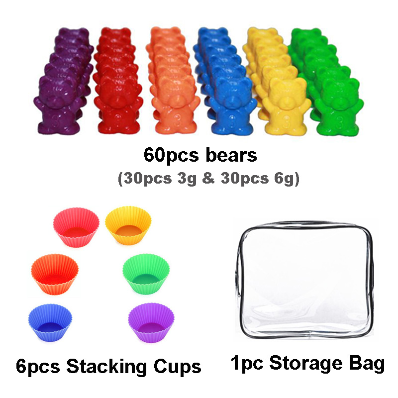 Counting Bears With Stacking Cups Kit Montessori Teaching Educational Toys Sorting Matching Toy For Children