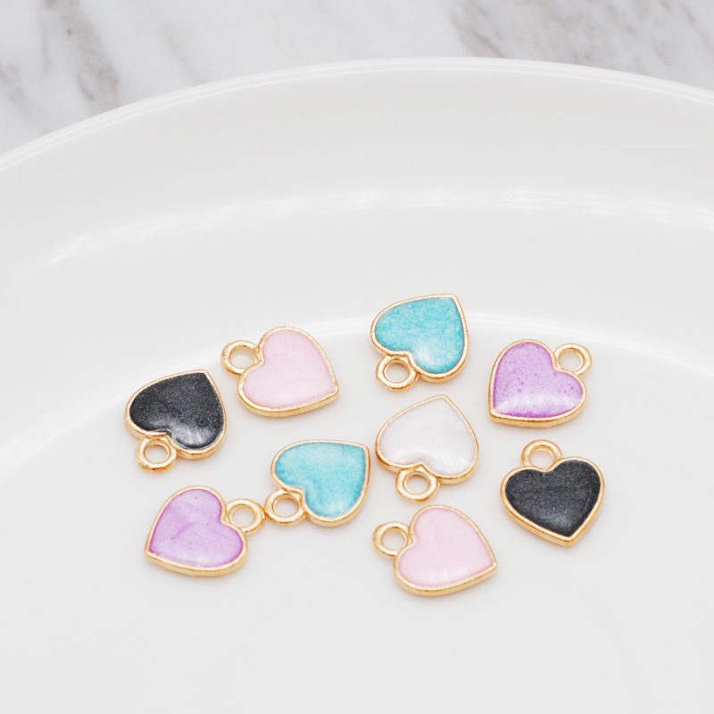 30pcs/Lot New Earrings DIY Accessories Cartoon Lovely Heart Simple Pendant Earrings Material Enamel Charm 10*12mm 2