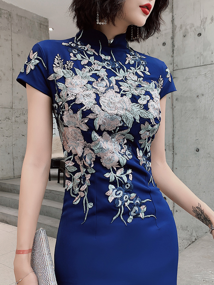 2020 lace mermaid chinese style lady cheongsam long elegant dress big vestidso vintage red bride wedding qipao