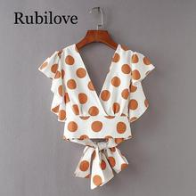 Rubilove New Women vintage butterfly sleeve polka dot short Blouses Shirts women back v bowknot ruffles casual slim Tops