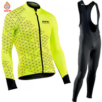 Northwave Warm 2019 Winter Thermal Fleece Cycling Clothes NW Men's Jersey Suit Outdoor Riding Bike MTB Clothing Bib Pants Set