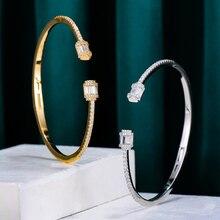 Cuff Bangle Dubai Bracelet Jewelry Cubic-Zircon Crystal Bagutte-Cut Wedding Women Luxury