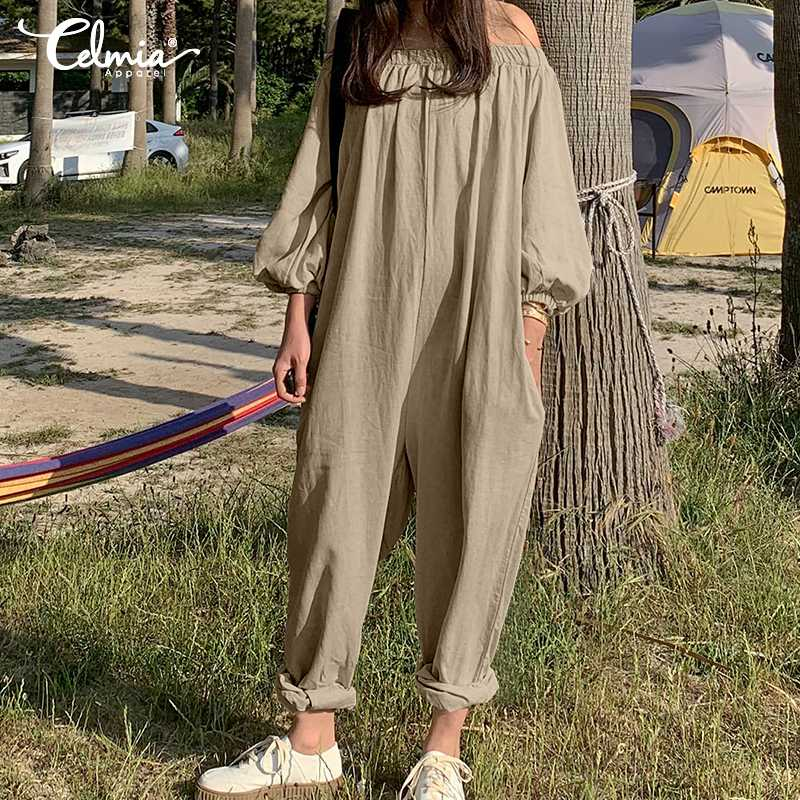 2019 Summer Women Jumpsuits Celmia Sexy Off Shoulder Harem Pants Casual Playsuits Loose Pleated Vintage Cotton Overalls S-5XL