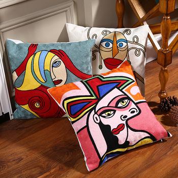 100 bawełna Picasso haftowana poszewka na poduszkę poszewka na poduszkę dla na siedzenie w samochodzie poszewka na poduszkę 45cm x 45cm bez farszu wystrój domu tanie i dobre opinie YUNPURE Haftowane Żakardowe Dzianiny Abstract painting Plac Chair Embroidered Cushion Cover Sofa Pillowcase Cotton