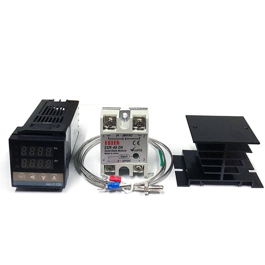 REX-C100 цифровой термостат PID Температура цифровой контроллер REX-C100/ 40A твердотельное реле SSR/зонд термопары K/теплоотвод
