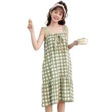 цена на Women Nightdress Polyester Cotton Loose Thin Section Casual Suspenders Nightdress Summer Cartoon Cute Dress Girl Home Service