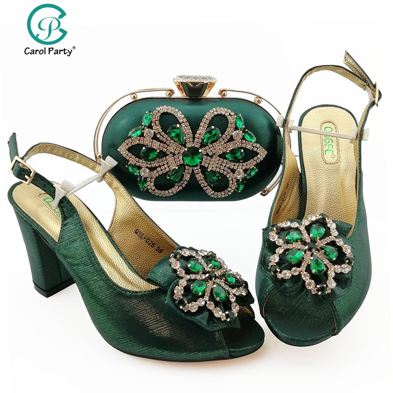 Green Color Shoe and Matching Bag for Nigeria Party African Wedding Shoes and Bag Set Italian design Women Wedding Shoe and Bag