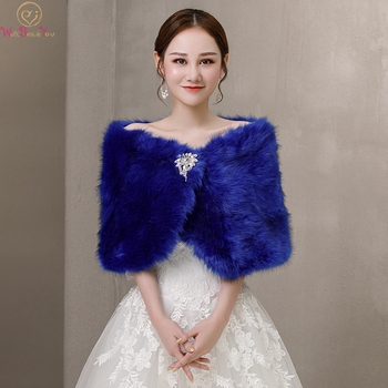 100% Real Pictures Blue Party Evening Jacket With Crystal Wrap Faux Fur Wedding Cape Winter Women Bolero Wrap Winter Shawl Stock blue flower girl faux fur cape child kid winter jacket hooded wrap bolero with hand muff evening prom coat outwear cloaks