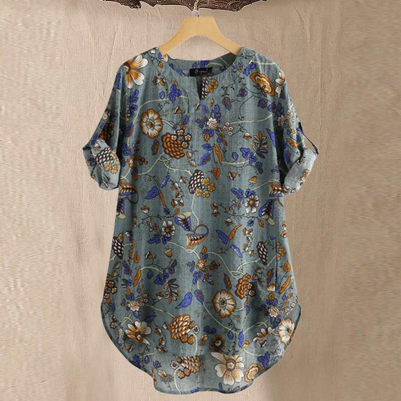 Vintage Women's Floral Blouse 2020 ZANZEA Printed Tops Summer Cotton Blusas Female 3/4 Sleeve Tunic Asymmetrical Tops Plus Size