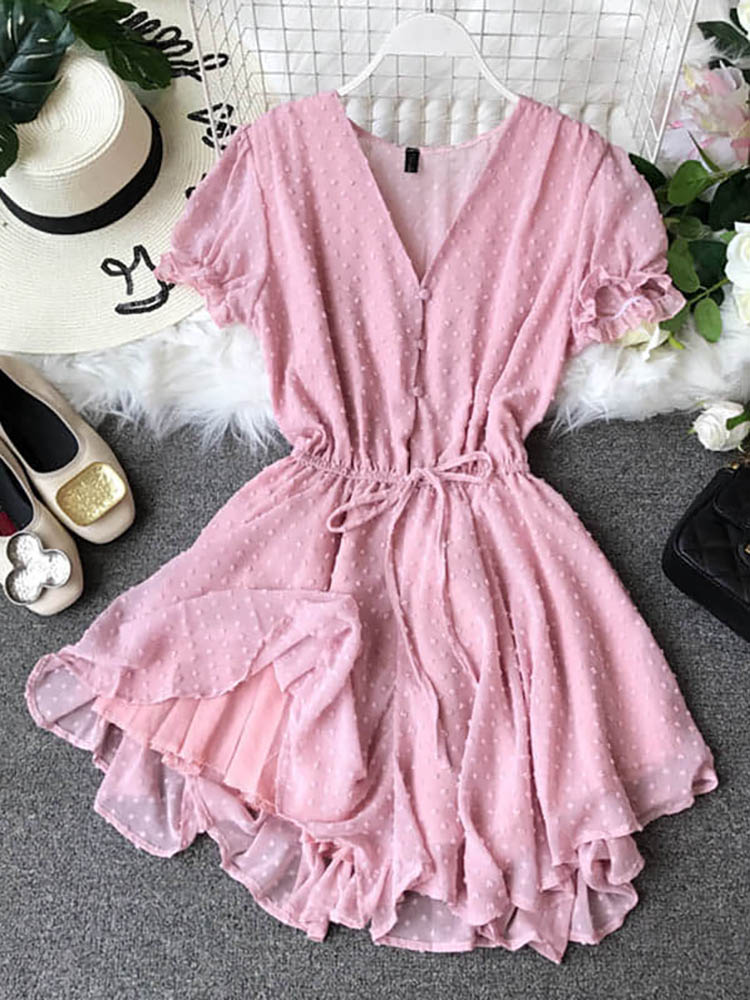 Hb5ce16e43a414b1da59f6a0cfebbe878i - Candy Color Elegant Jumpsuit Women Summer Latest Style Double Ruffles Slash Neck Rompers Womens Jumpsuit Short Playsuit