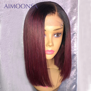 Image 4 - 4x4 dantel kapatma peruk bordo dantel ön peruk 130% renkli gölgeli insan saçı peruk kızıl saç düz 1B/99J kadınlar için remy