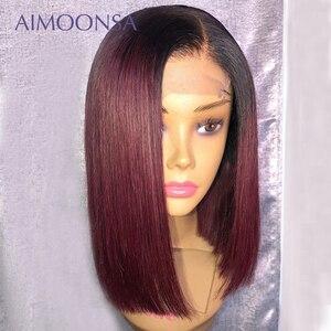 Image 4 - 4x4 fechamento do laço peruca borgonha peruca dianteira do laço 130% colorido ombre perucas de cabelo humano cabelo vermelho em linha reta 1b/99j para as mulheres remy