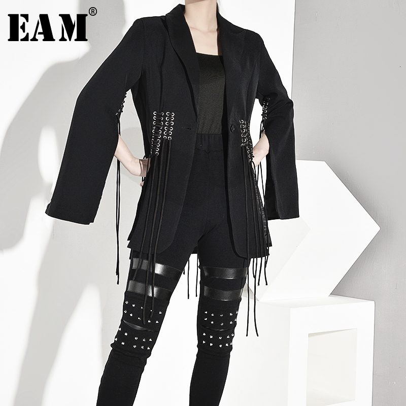 [EAM] Loose Fit Back Vent Bandage Jacket New Lapel Long Sleeve Asymmetrical Women Coat Fashion Tide Autumn Winter 2019 JY8500
