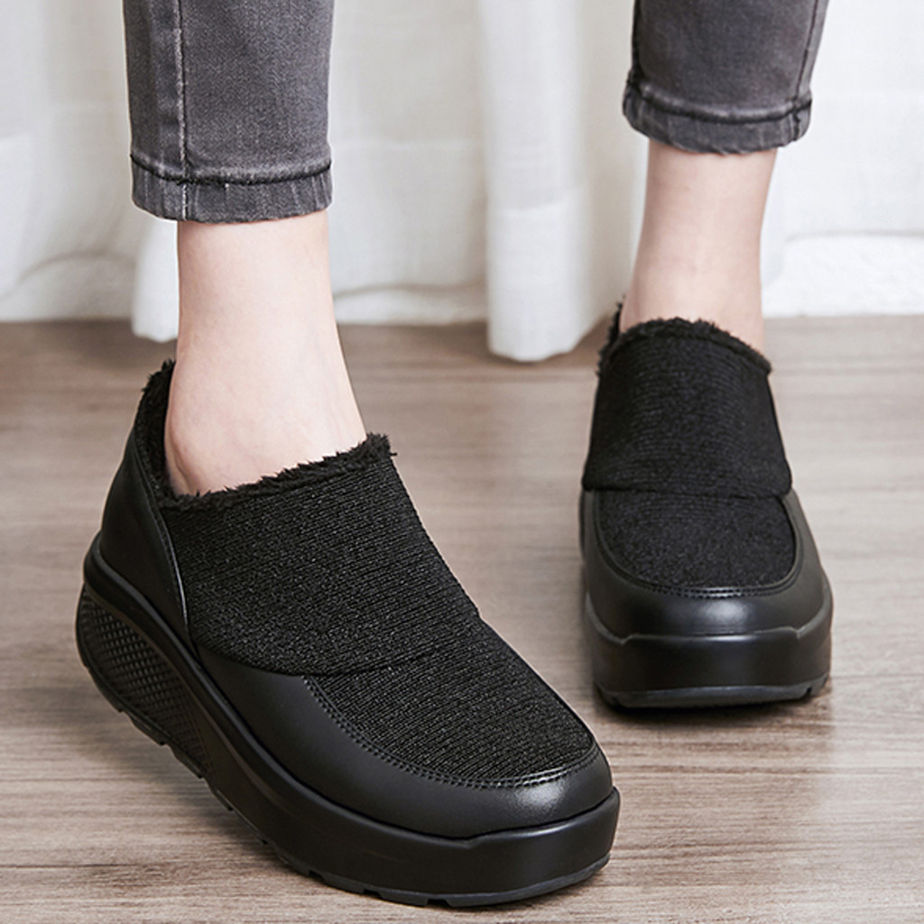 Casual Shoes Women Winter Snow Ankle Boots Warm Flats Pu Leather Thickening Platform Shoes Botas Mujer Booties #3