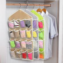 16 Pockets Wall Hanging Storage Bags Toys Cosmetics Bags Mounted Wardrobe Organizer Underwear Sock Jewelry Sorting Bags