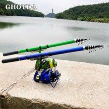 GHOTDA Rocha Pesca Rod Spinning Mini Fibra De Carbono Duro Vara De Pesca 3.0M/2.7M/2.4M/2.1M/1.8M/1.5M