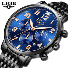 LIGE 2019 New Mens Watches Top Brand Luxury Business Quartz Watch Men Sports Full Steel Waterproof Blue Clock Relogio Masculino