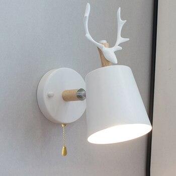Nordic Verstelbare LED Wandlampen Cartoon Herten Gewei Slaapkamer Reading Blaker Wall Mounted kinderkamer Verlichting E27 voor Thuis