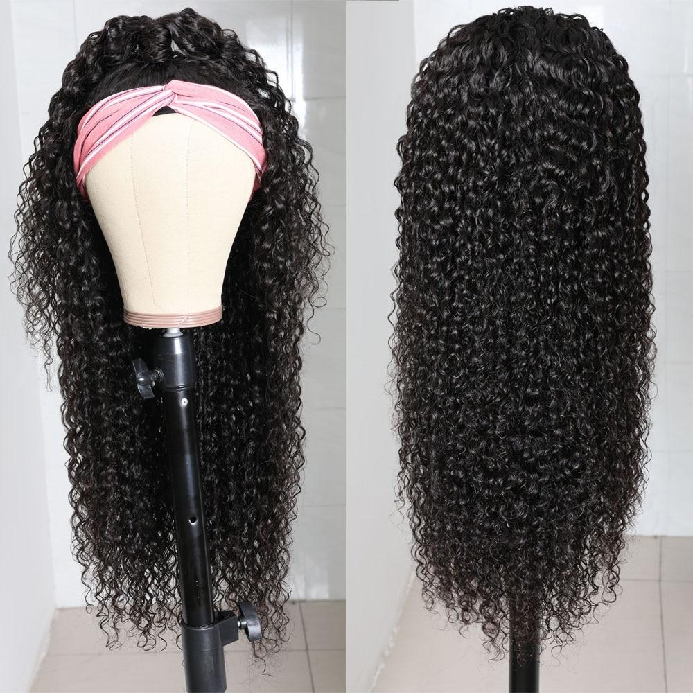 Julia Malaysian Curly Headband Wig Human Hair 14-26 Virgin Hair Scarf Wig Easy to Install Jerry Curl Hair Wig with Headband (6)