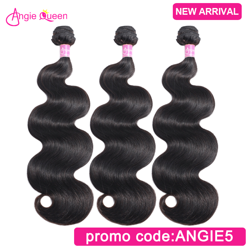 Hair-Bundles Weaves Remy-Hair Angie Queen Indian Natural-Color 100%Human-Hair Body-Wave title=