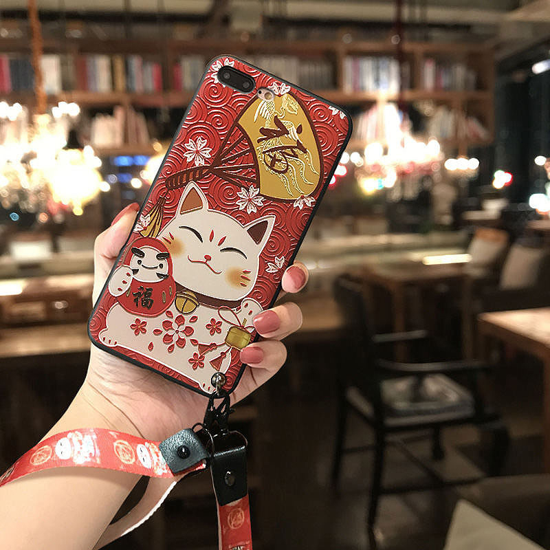 Cute Lucky Cat 3D Emboss Phone Case for Samsung S10e S8 S9 S10 S20 Ultra Plus Note 8 9 10 Plus Lanyard Soft Back Covers Capa