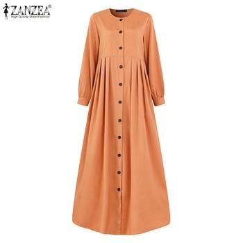 2021 Autumn Long Sleeve Buttons Down Sundress Women Muslim Dubai Abaya Turkey Hijab Dress Islam