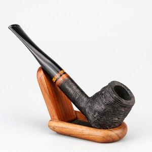 Image 2 - Классическая деревянная трубка Briar, 9 мм, фильтр, фотография, случайная гравировка, трубка Briar, курительная трубка, набор бесплатных инструментов
