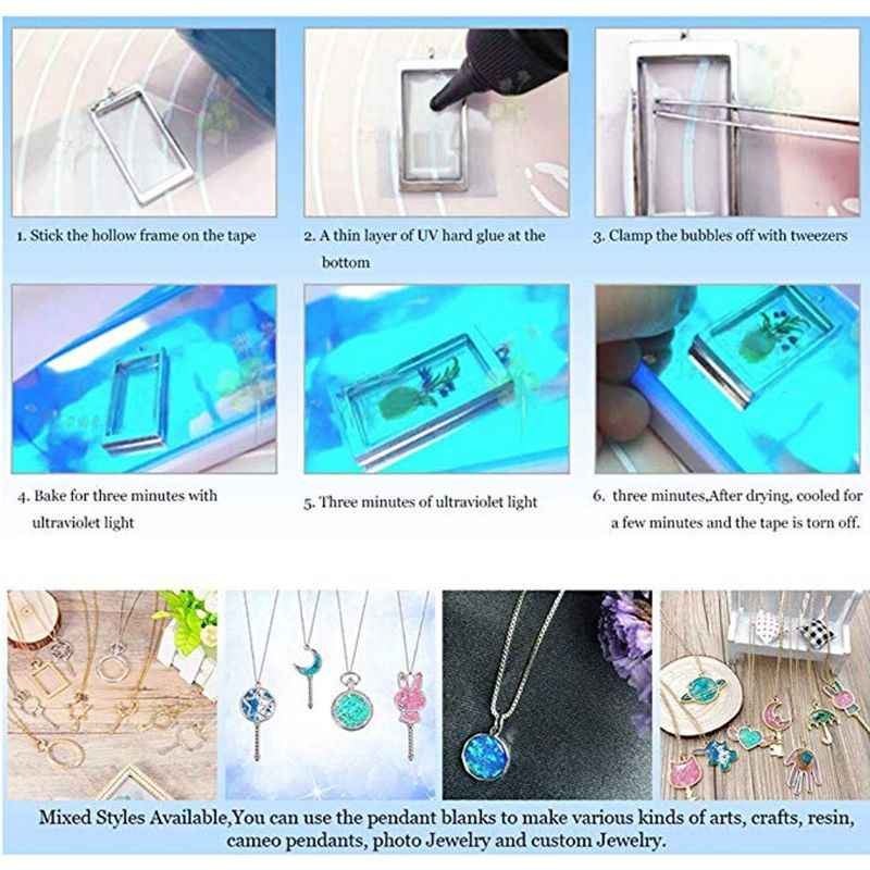 LLavero de resina UV de llama giratoria colgante bisel abierto Configuración de joyería