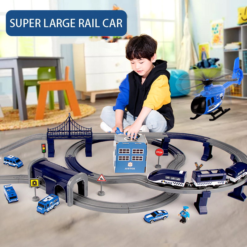Children's Electric Rail Car Toy Set Police Fire Engineering Plastic Electric Track Educational Assembled Toys Gifts For Child