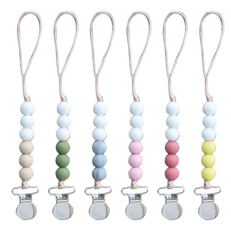 Dummy Clips Baby Boys Girls Pacifier Chain Infants Silicone Beaded Teething Toys Baby Boys Girls Pacifier Chain