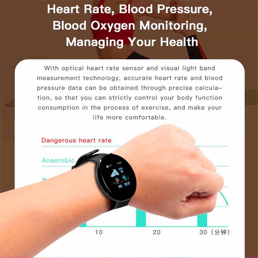 D18 ساعة ذكية جديدة الرجال ضغط الدم الجولة بلوتوث ساعة ذكية النساء ساعة مقاوم للماء الرياضة المقتفي WhatsApp لنظام أندرويد Ios
