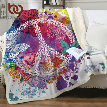 BeddingOutlet Watercolor Butterfly Velvet Plush Throw Blanket Colorful Sherpa Blanket for Bed Sofa Peace Design Thin Quilt 1