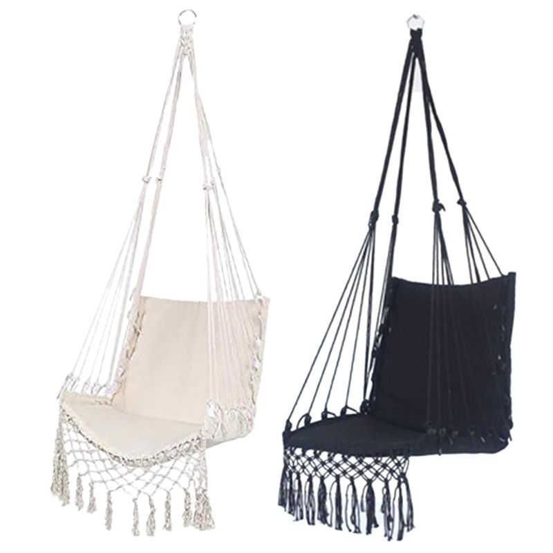 Nordic Style Hammock Safety Beige Hanging Hammock Chair Swing Rope Outdoor Indoor Hanging Chair Garden Seat Home v3 VC